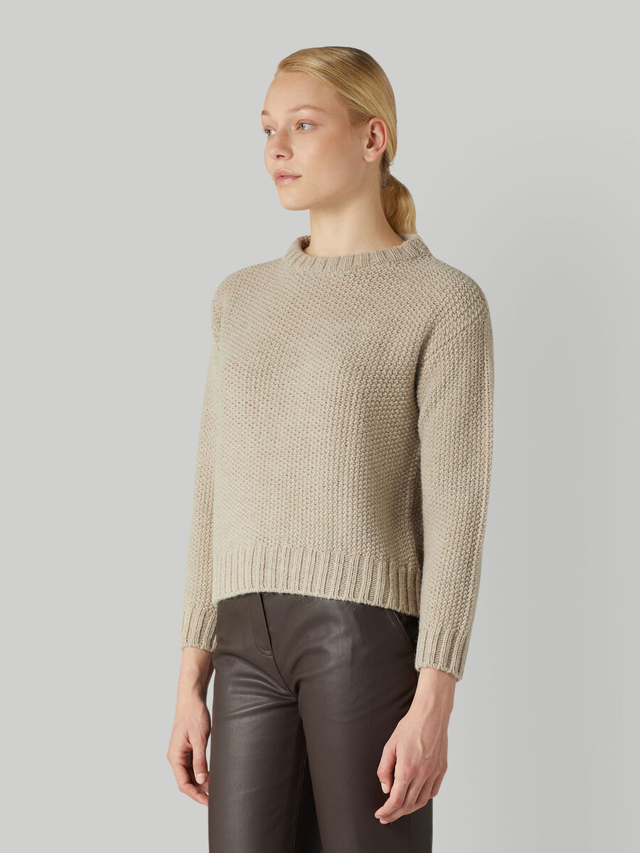 Boxy honeycomb wool-blend pullover