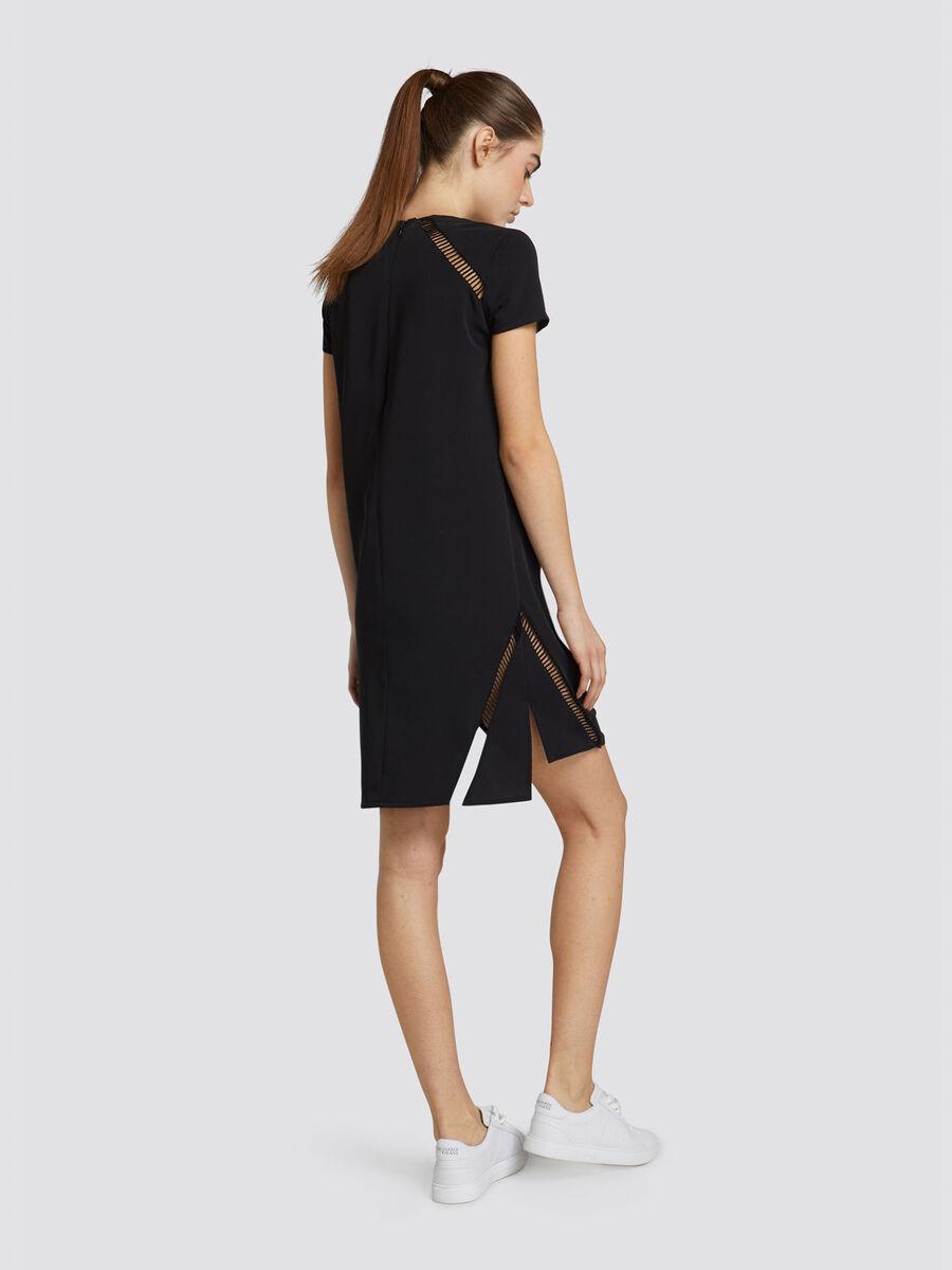 Regular fit monochrome technical crepe mini tunic