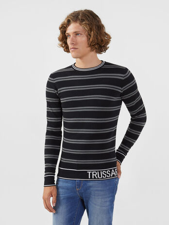 Pullover regular fit in misto lana a righe con logo
