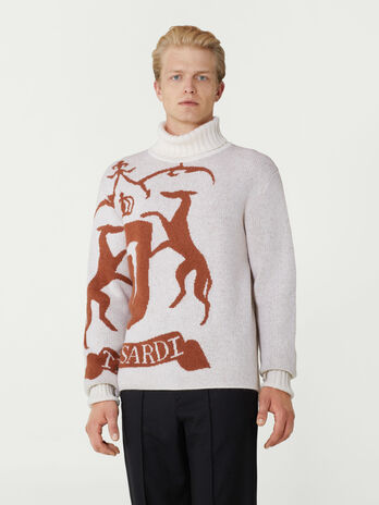Wool mohair jacquard polo neck pullover