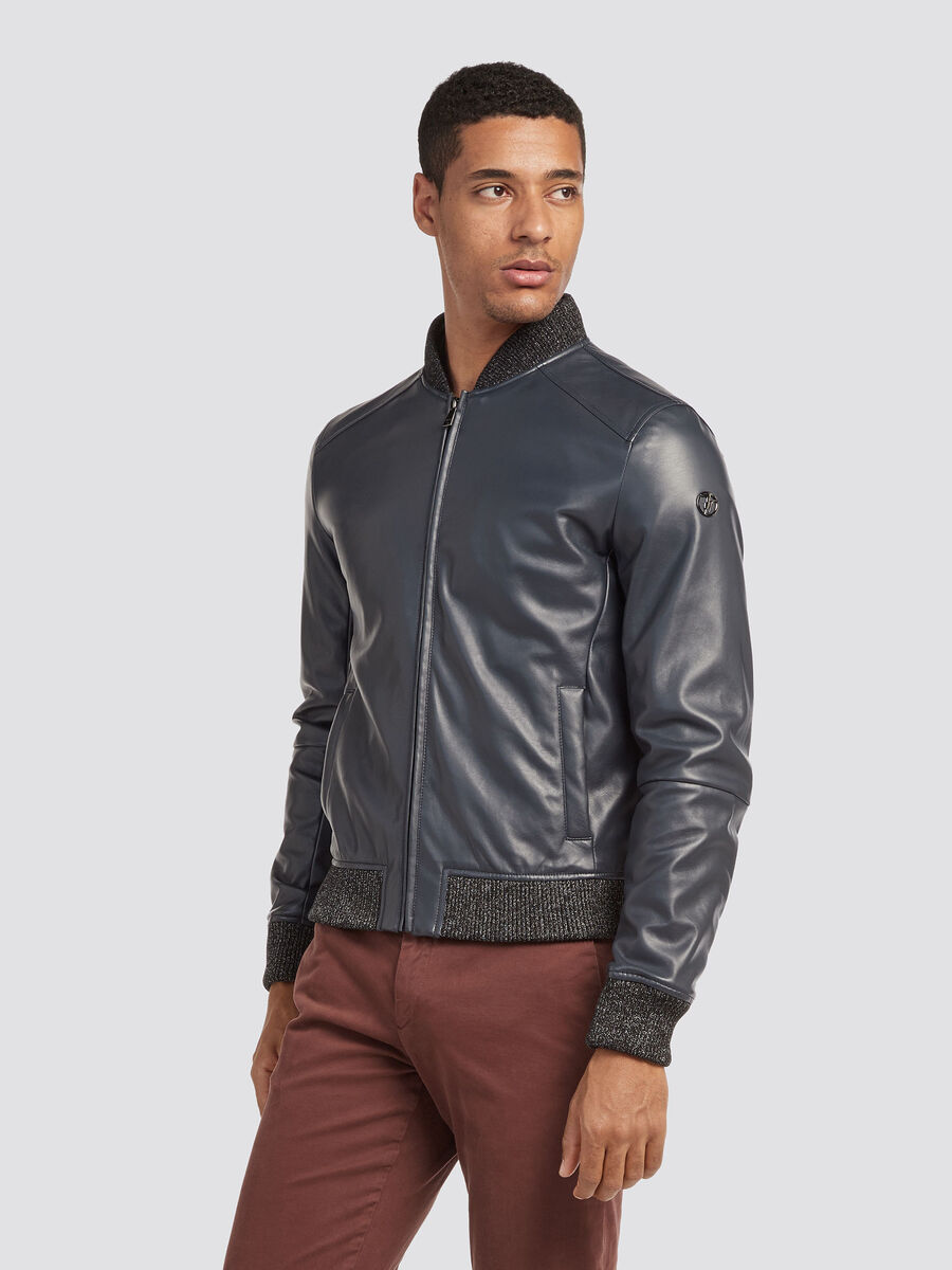 Regular fit bomber jacket with fine rib detailing
