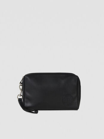 Faux leather toiletry bag with logo patch