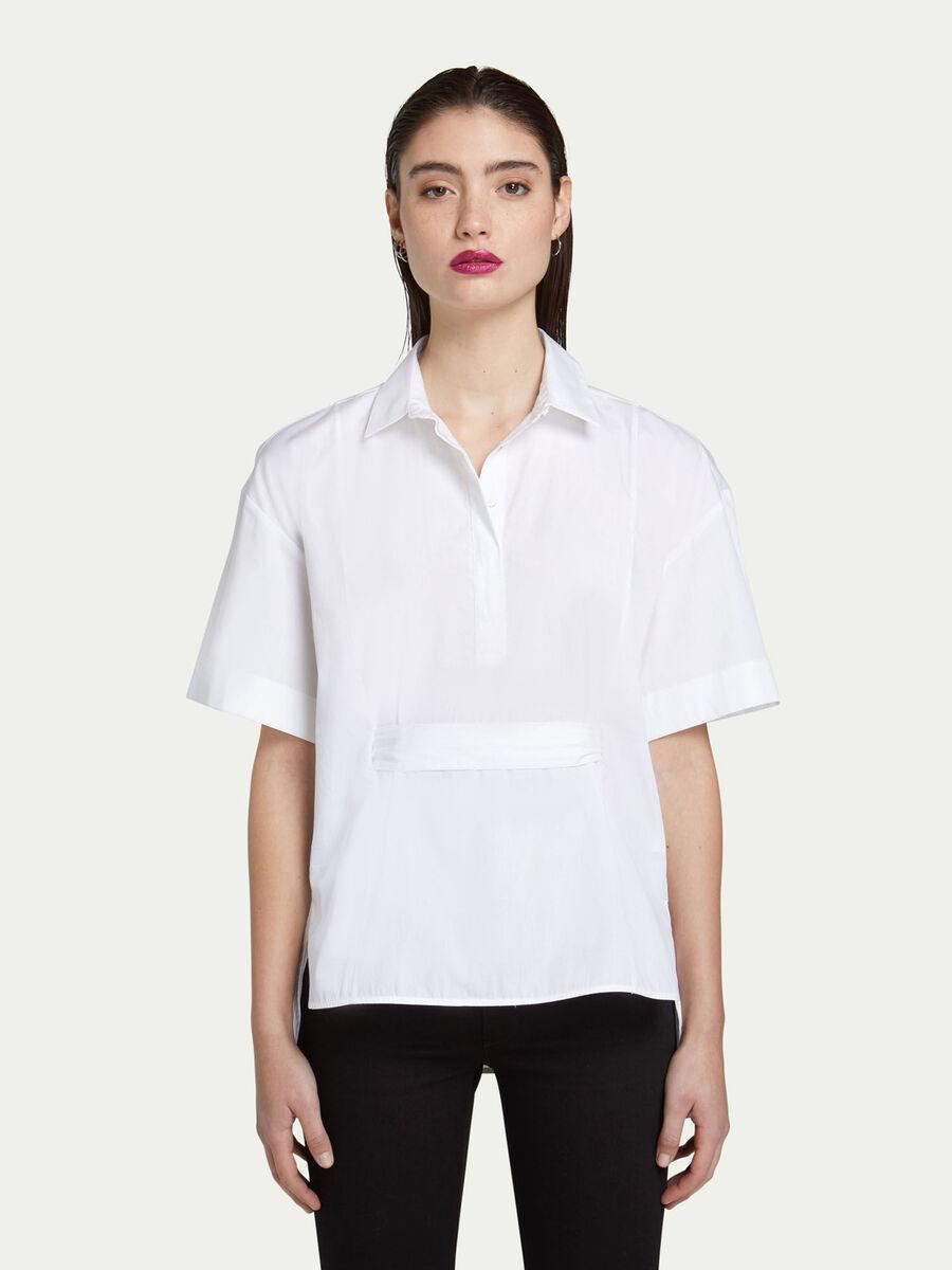 Camicia in popeline con fascia decorativa