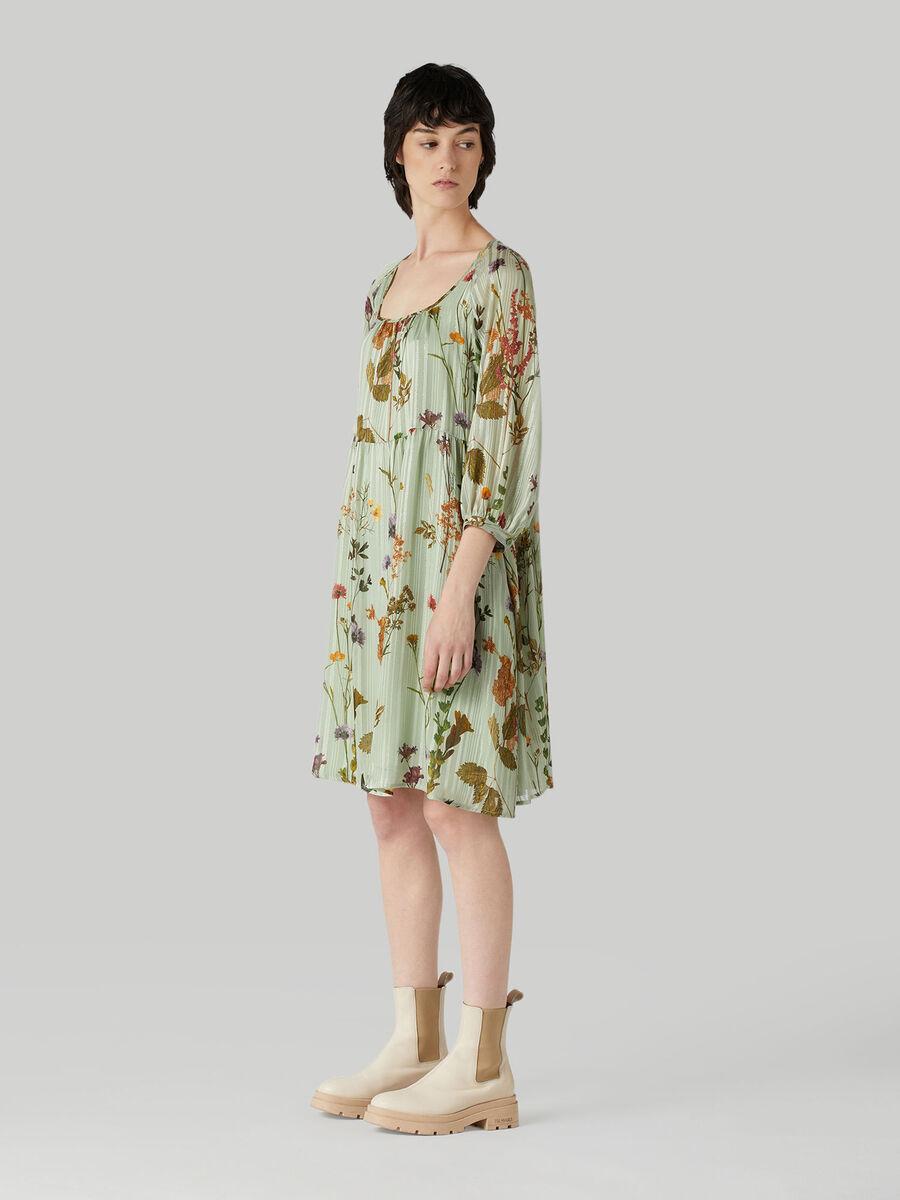 Kurzes Kleid aus Stoff im Blumenprint