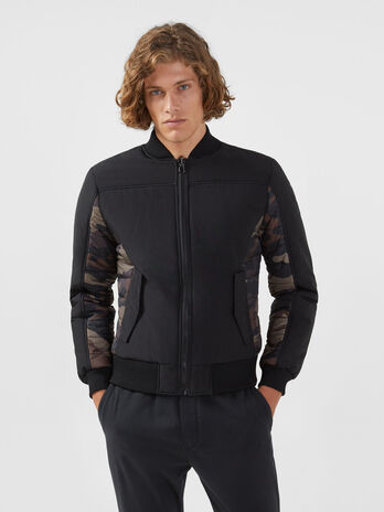 Bomber reversible de corte regular de algodon y nailon