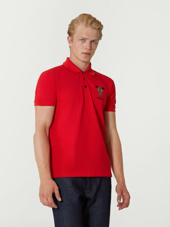 Poloshirt im Regular Fit aus Pikee mit Stickerei