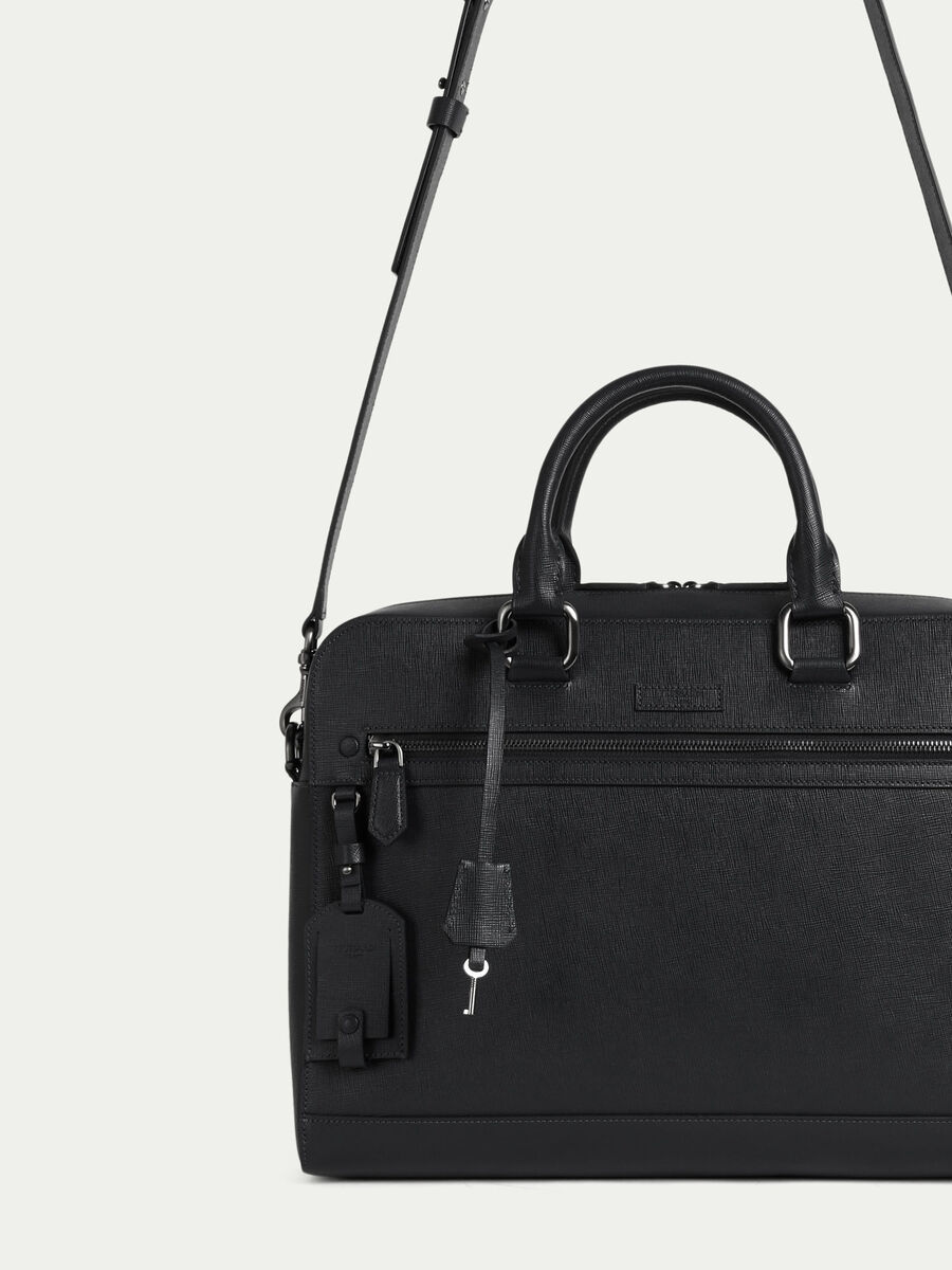 Medium briefcase in saffiano print leather
