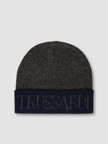 Two tone wool blend hat with lettering