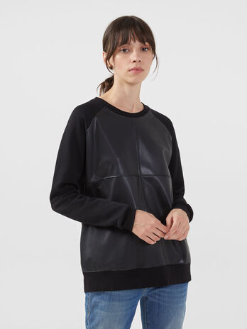 Regular fit sweatshirt in cotton and faux leather