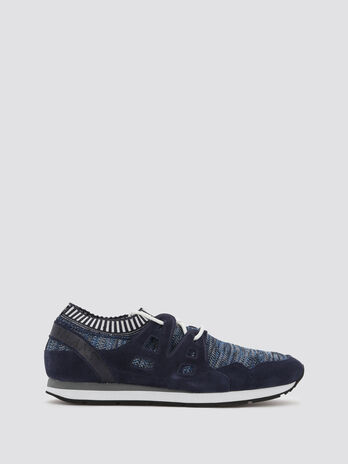 Sneakers effet tricot a bandes