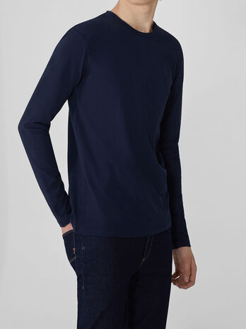 Slim-fit cotton top with long sleeves
