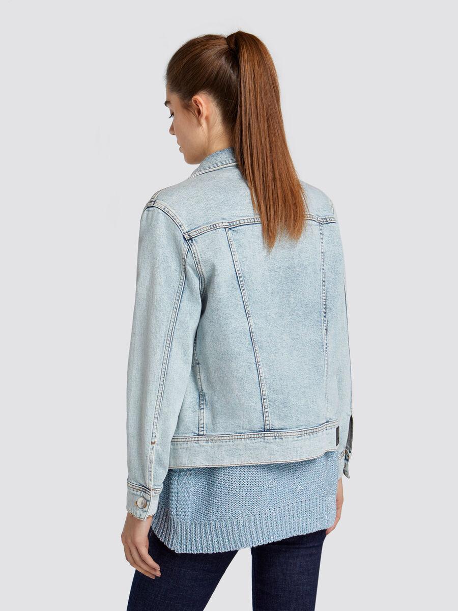 Jeansjacke aus ausgeblichenem hellem Denim