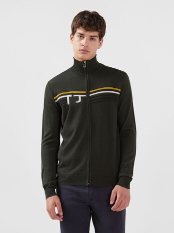Regular fit wool blend zip up pullover