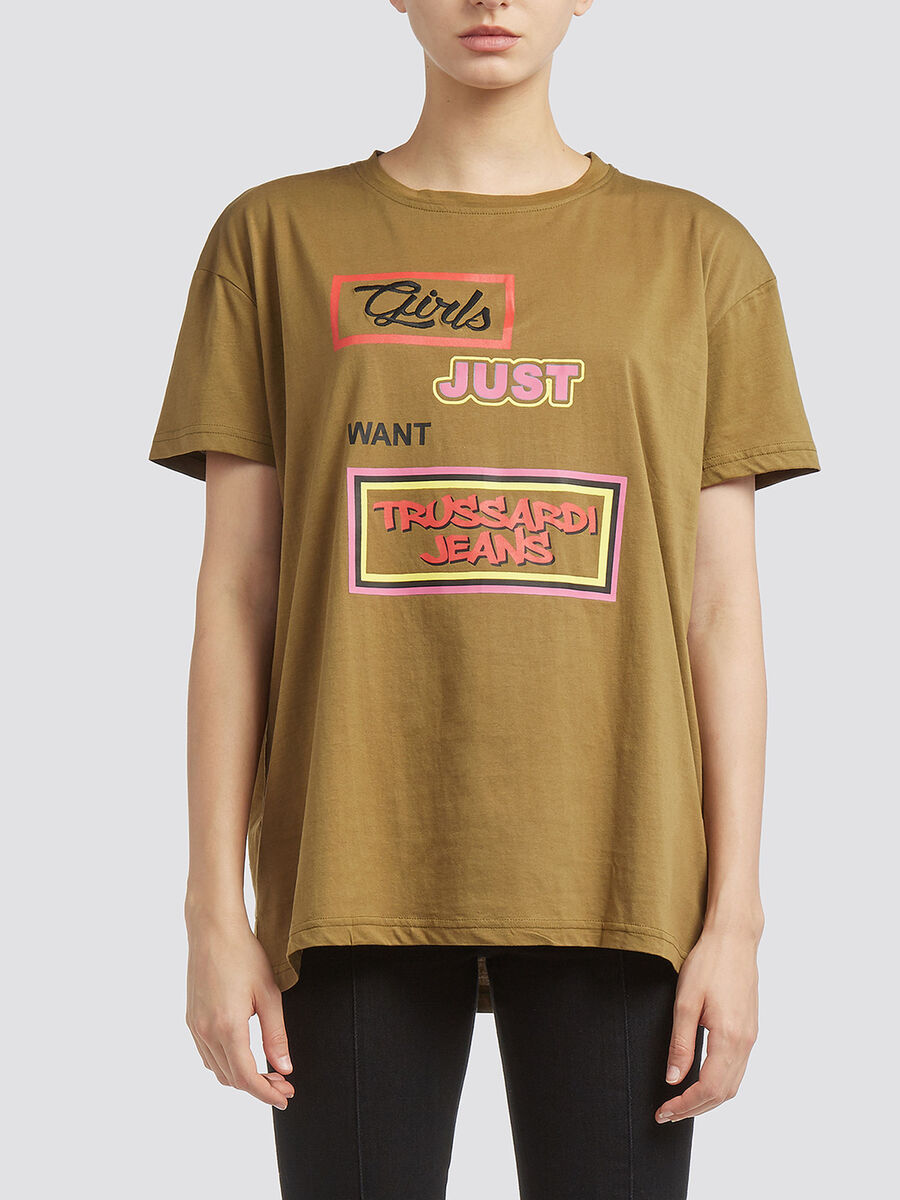Cotton jersey T shirt with lettering prints