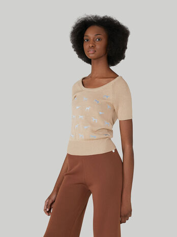Slim-fit cotton and silk pullover with Levriero