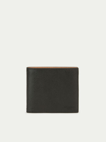 Saffiano effect leather card holder with coin pocket