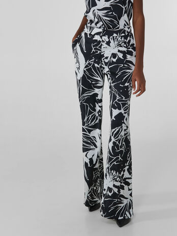 Pantaloni flare in satin stampa flower