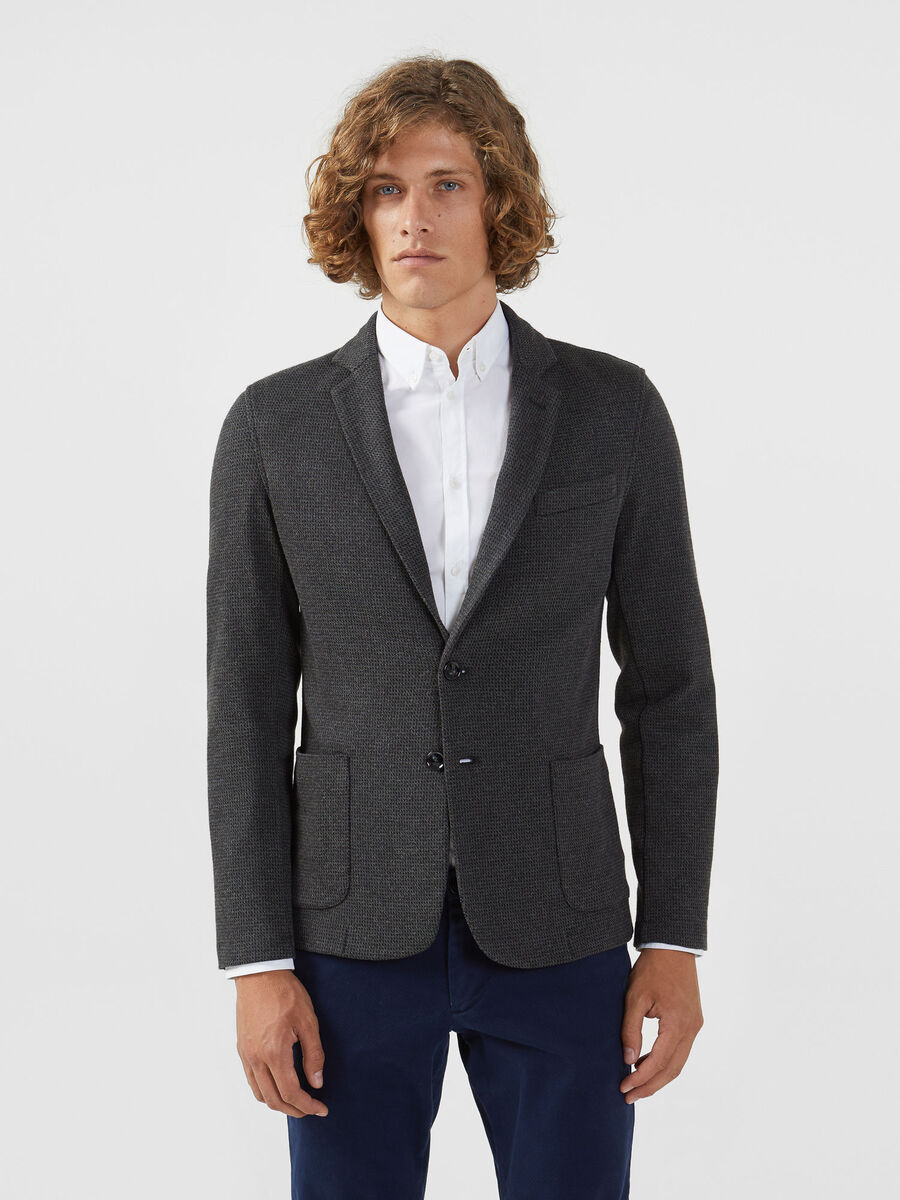 Slim fit blazer in houndstooth jersey