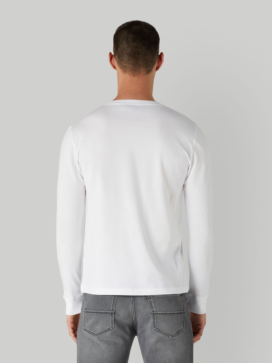 Regular-fit cotton T-shirt with long sleeves