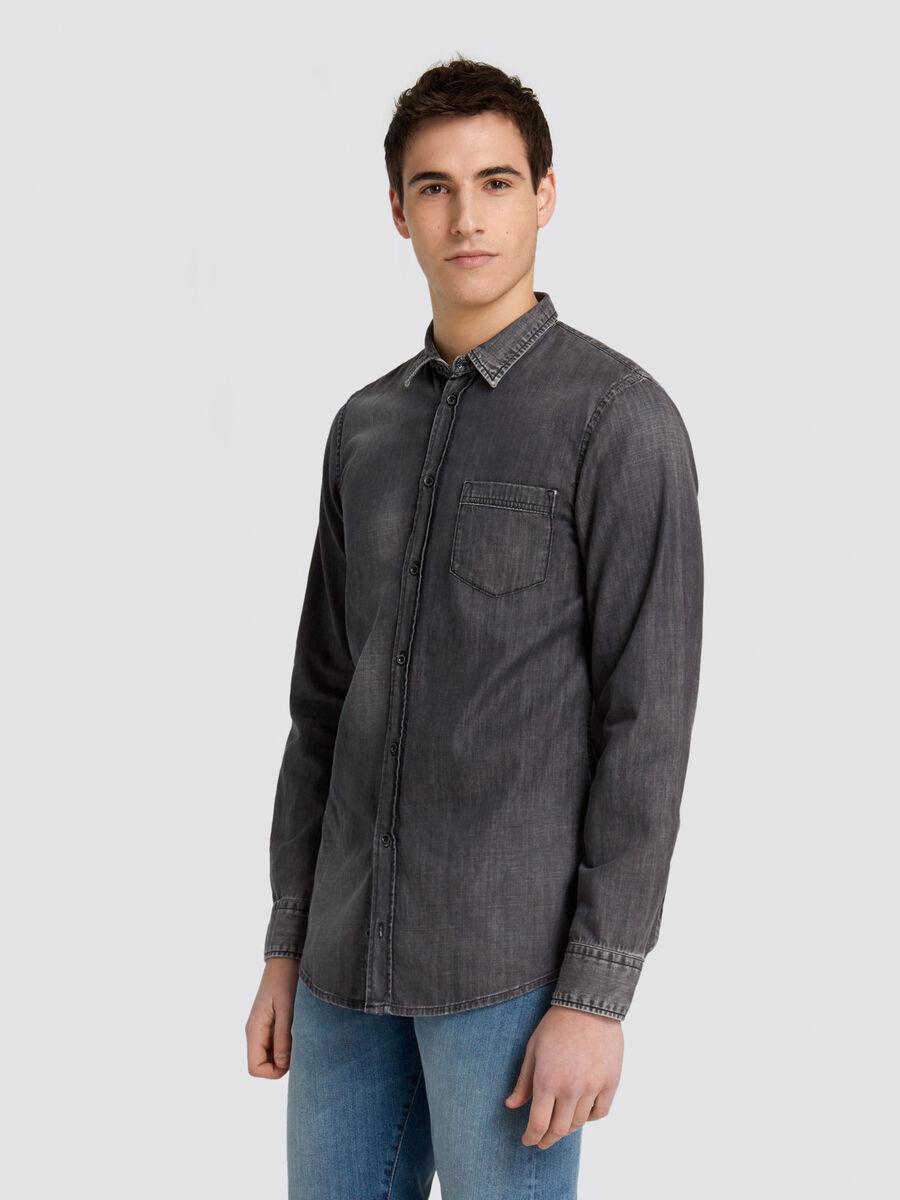 Camicia regular fit in denim di cotone