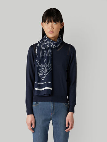 Printed modal and silk scarf