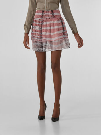 Georgette miniskirt with animalier print