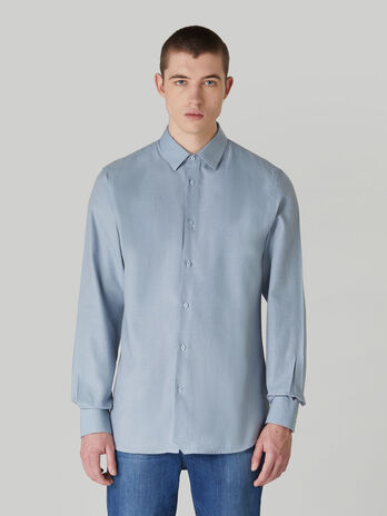 Regular-fit cotton micro-textured shirt