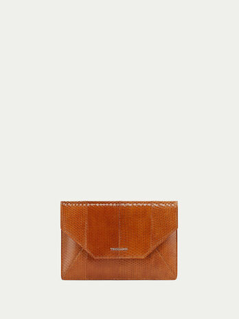 Openwork elaphe envelope clutch