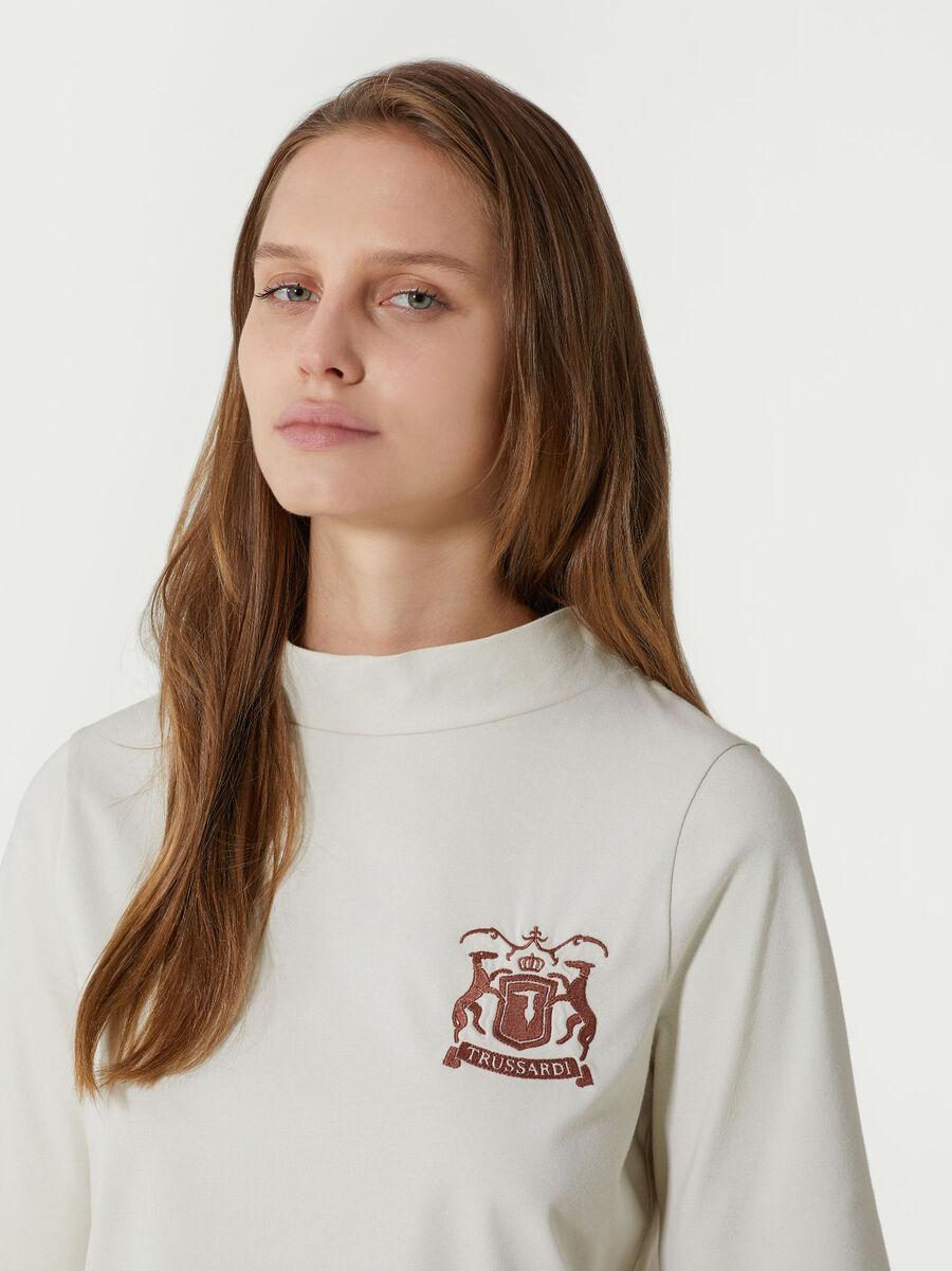 Baumwoll T-Shirt im Regular Fit mit Logostickerei