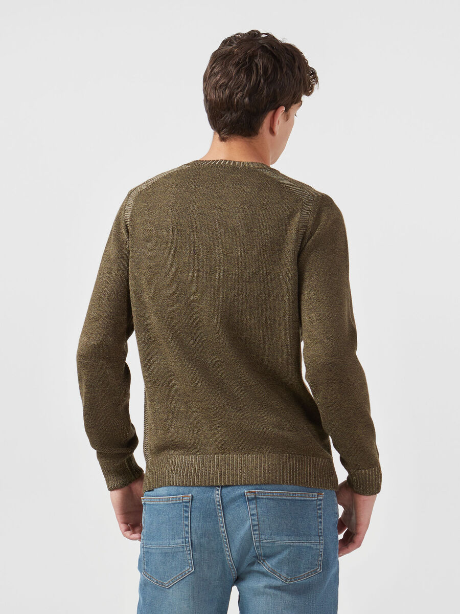 Crew neck up mouline pullover in a plaited wool blend