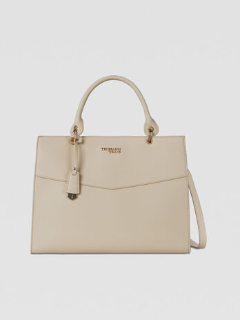 Large Charlotte top handle bag in faux leather