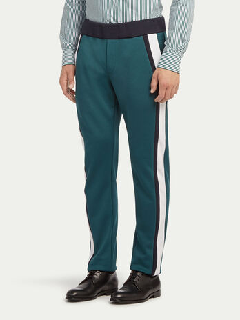 Pique trousers with drawstring and side bands