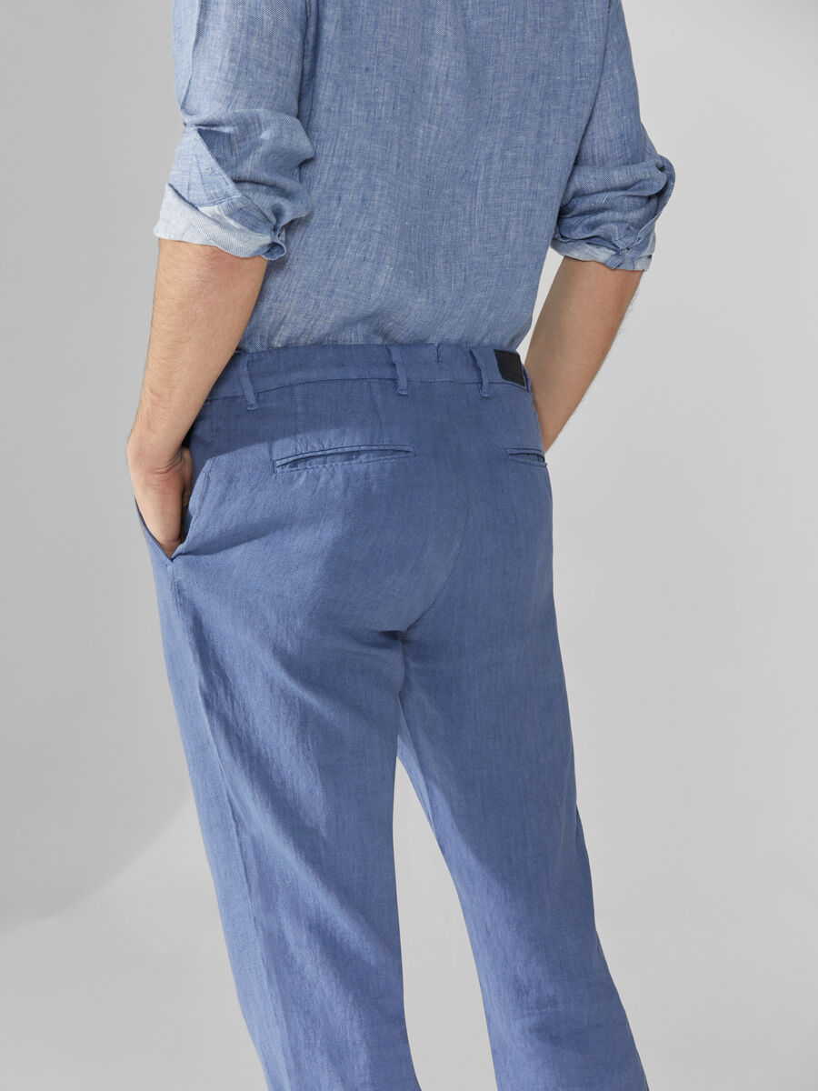 Linen aviator-fit trousers