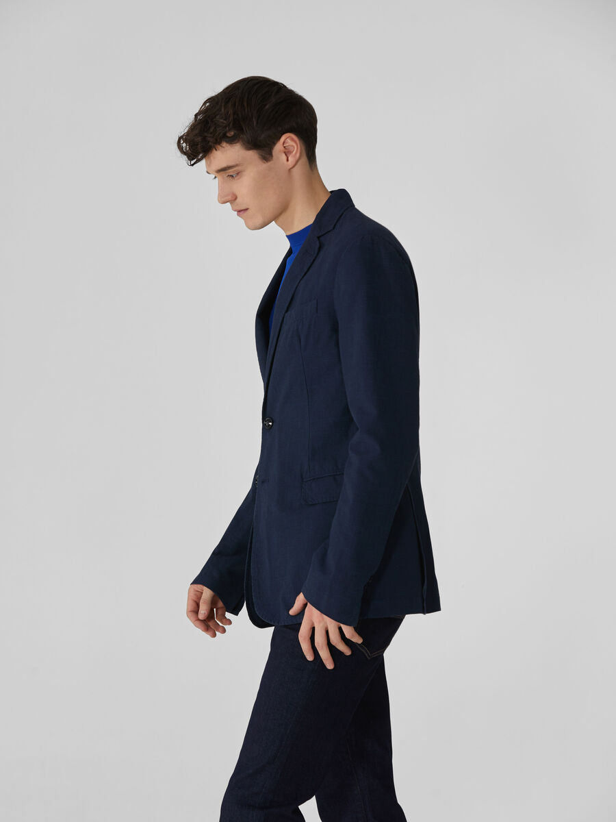 Regular-fit patterned cotton and linen blazer
