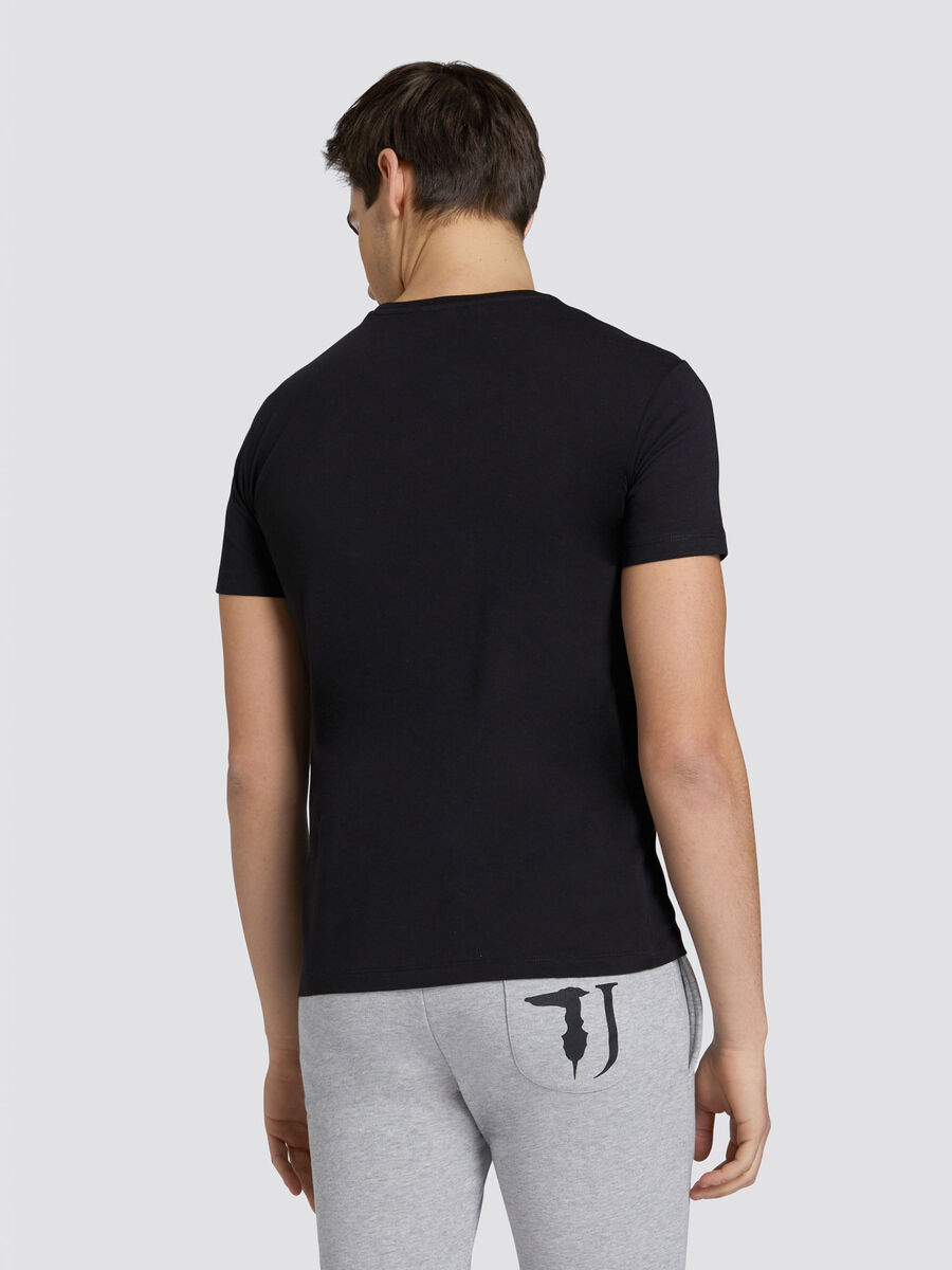 Regular fit solid colour jersey T shirt with lettering