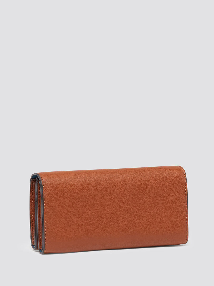 Logoed wallet with hammered effect