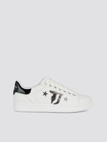 Sneaker similpelle tinta unita con maxi logo stellato