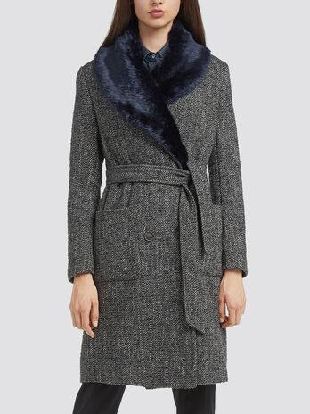 Melange herringbone coat with faux fur collar