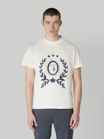 Pure cotton boxy-fit T-shirt with Levriero print