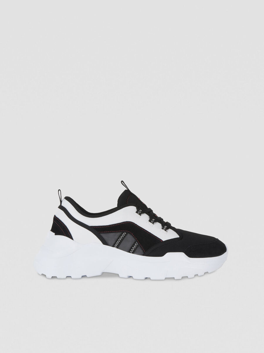 Suede and technical fabric running sneakers