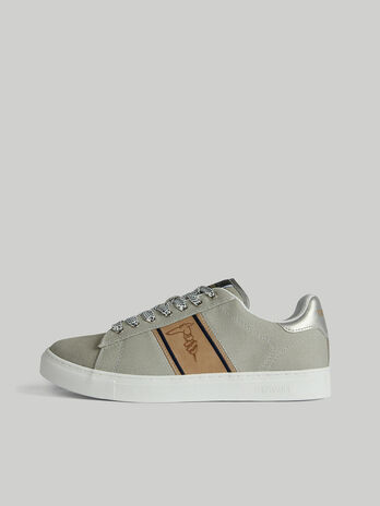 Danus canvas and suede sneakers with monogram detail