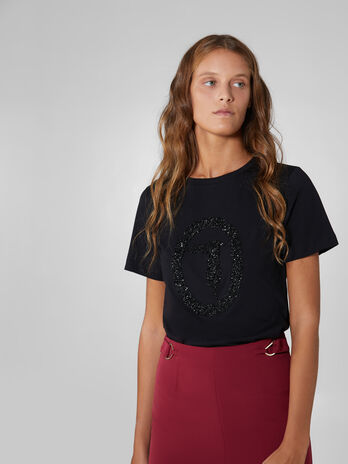 Regular fit soft jersey T-shirt with crystals