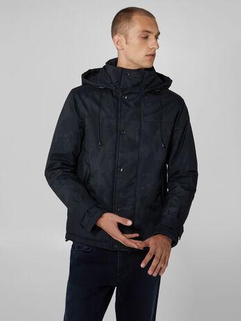 Camouflage nylon jacket with hood