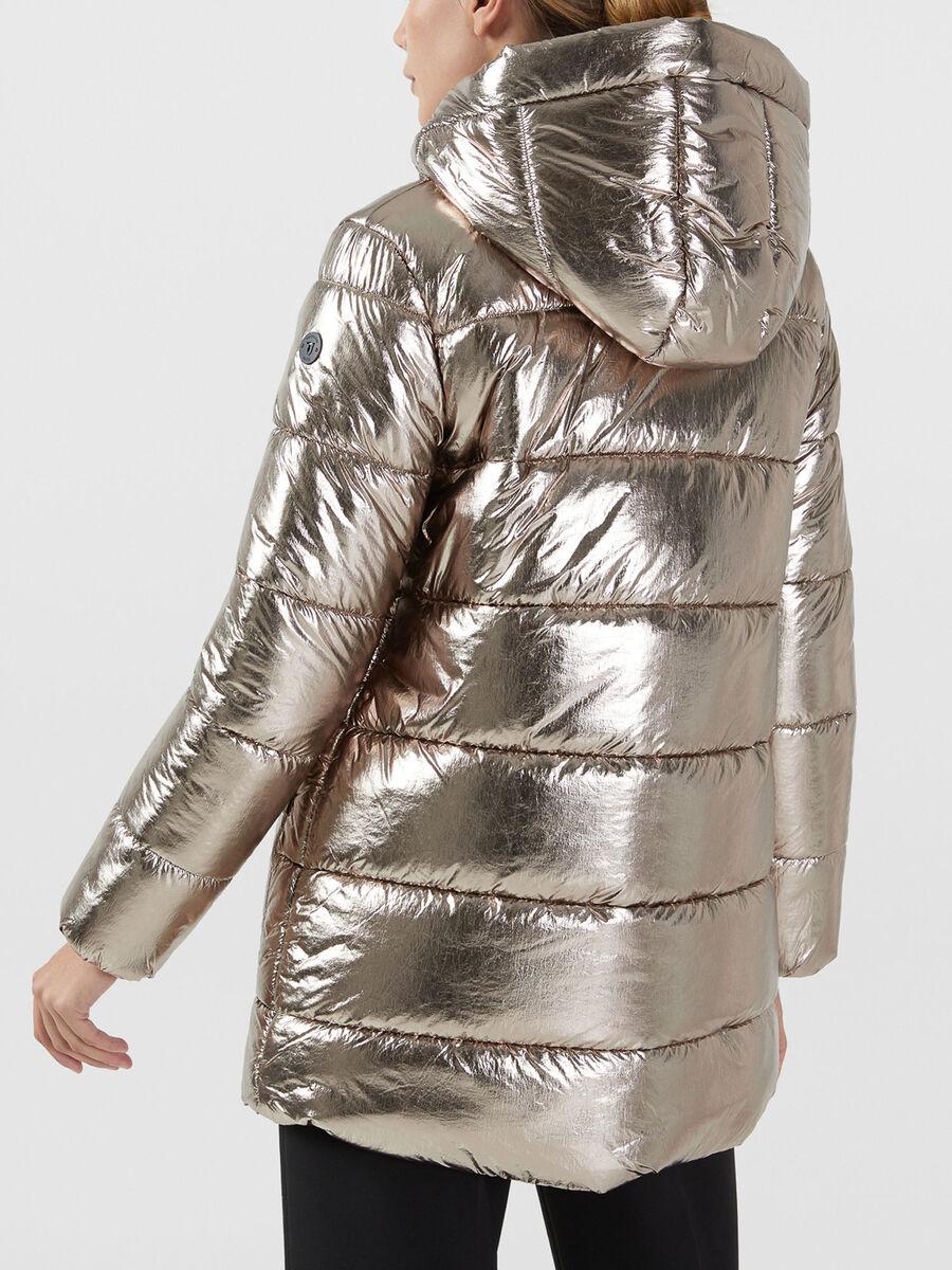 Parka imbottito regular fit in nylon metallizzato