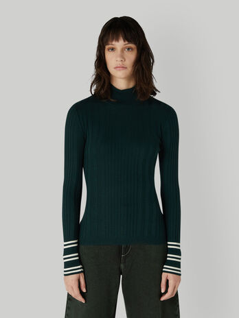 Slim-fit wool-blend polo-neck pullover