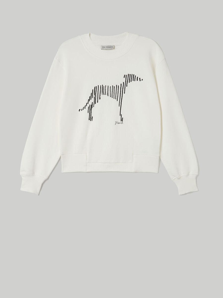 Boxy cotton sweatshirt with Levriero print