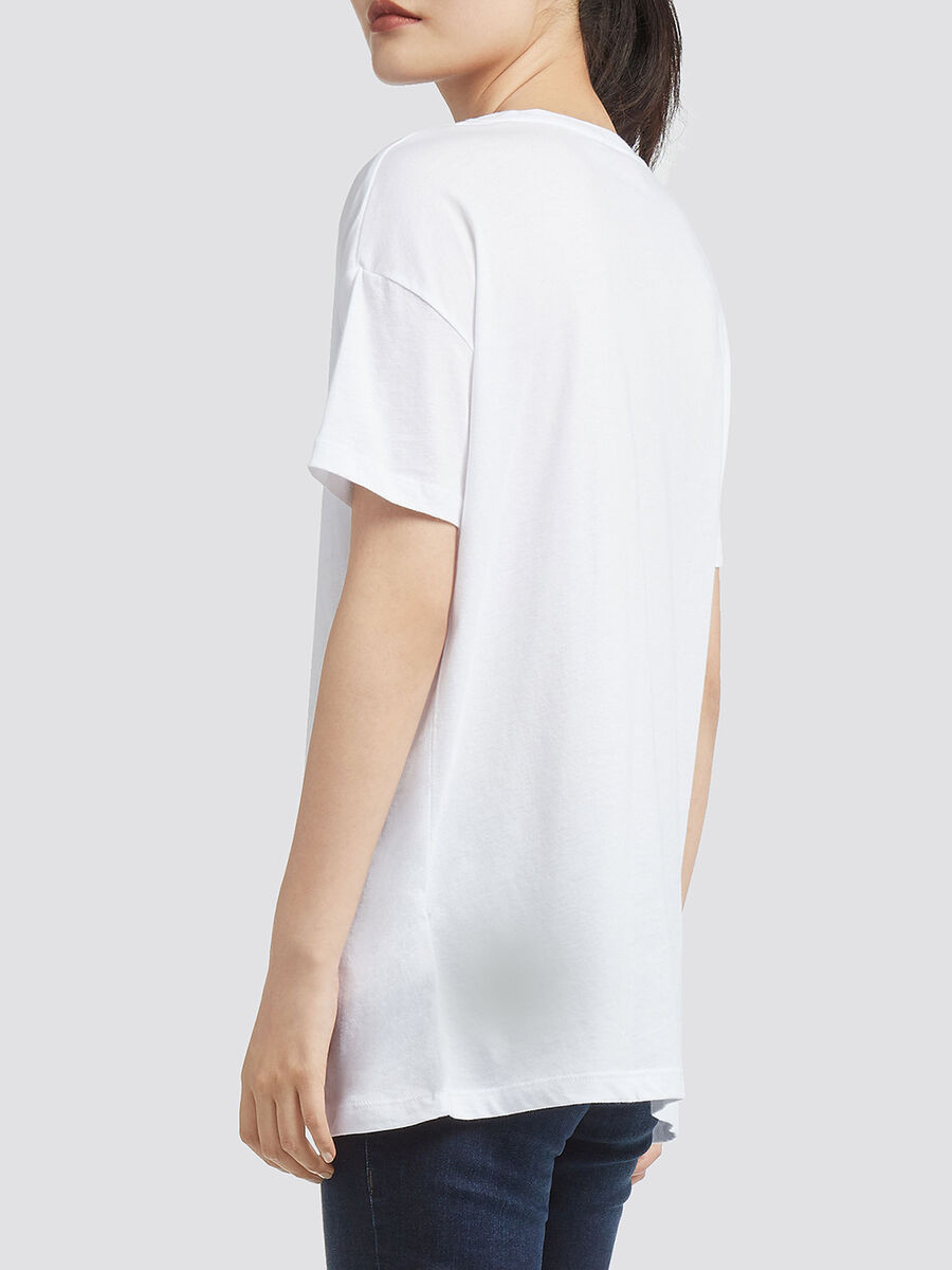 Cotton T shirt with lettering print