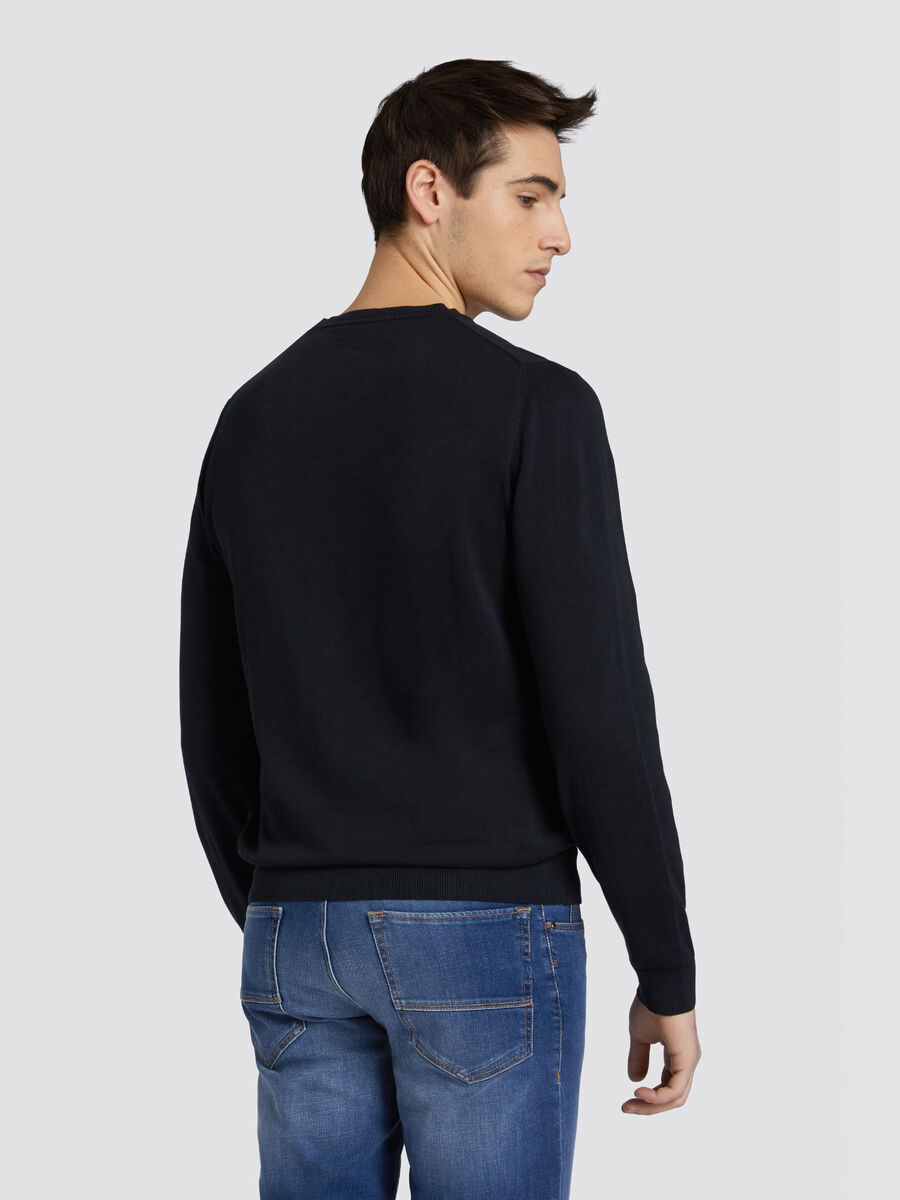 Regular fit pure cotton crew neck pullover