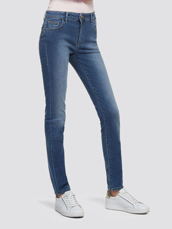 Washed jeans with rhinestone detailing on rear
