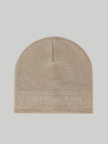 Gorro de mezcla de lana con inscripcion jacquard